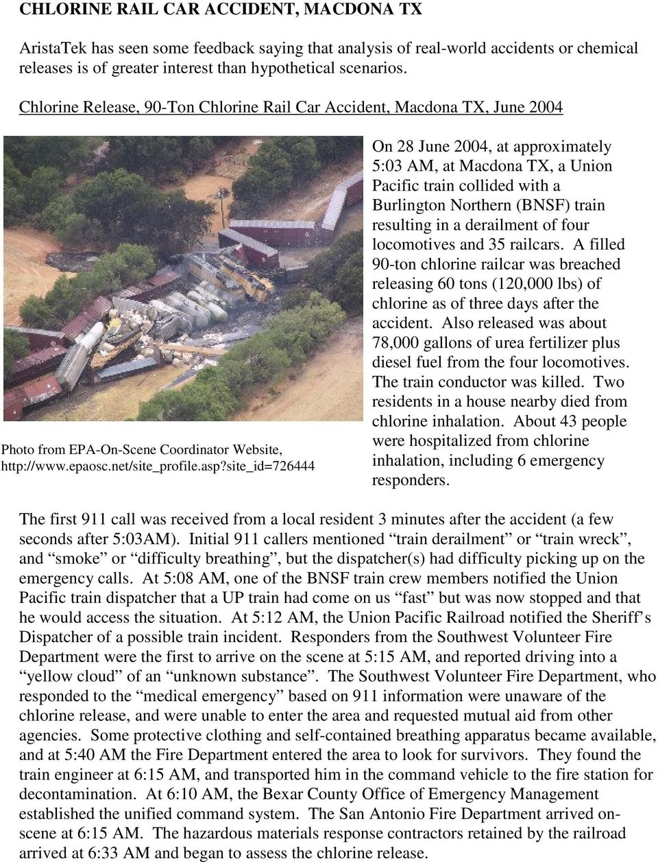 site_id=726444 On 28 June 2004, at approximately 5:03 AM, at Macdona TX, a Union Pacific train collided with a Burlington Northern (BNSF) train resulting in a derailment of four locomotives and 35