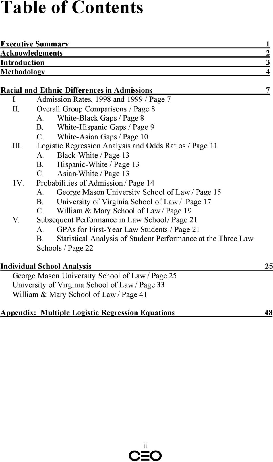 Black-White / Page 13 B. Hispanic-White / Page 13 C. Asian-White / Page 13 1V. Probabilities of Admission / Page 14 A. George Mason University School of Law / Page 15 B.