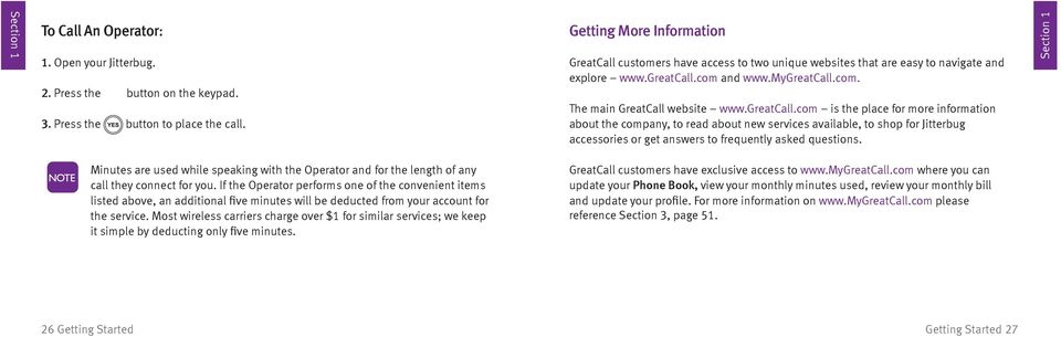 greatcall.com is the place for more information about the company, to read about new services available, to shop for Jitterbug accessories or get answers to frequently asked questions.