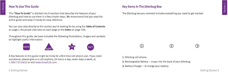 Key Items In The Jitterbug Box The Jitterbug box you received includes everything you need to get started: Section 1 You can also skip directly to the section you re looking for by using the Table of