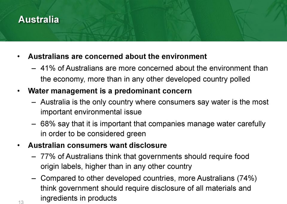 companies manage water carefully in order to be considered green Australian consumers want disclosure 77% of Australians think that governments should require food origin labels,