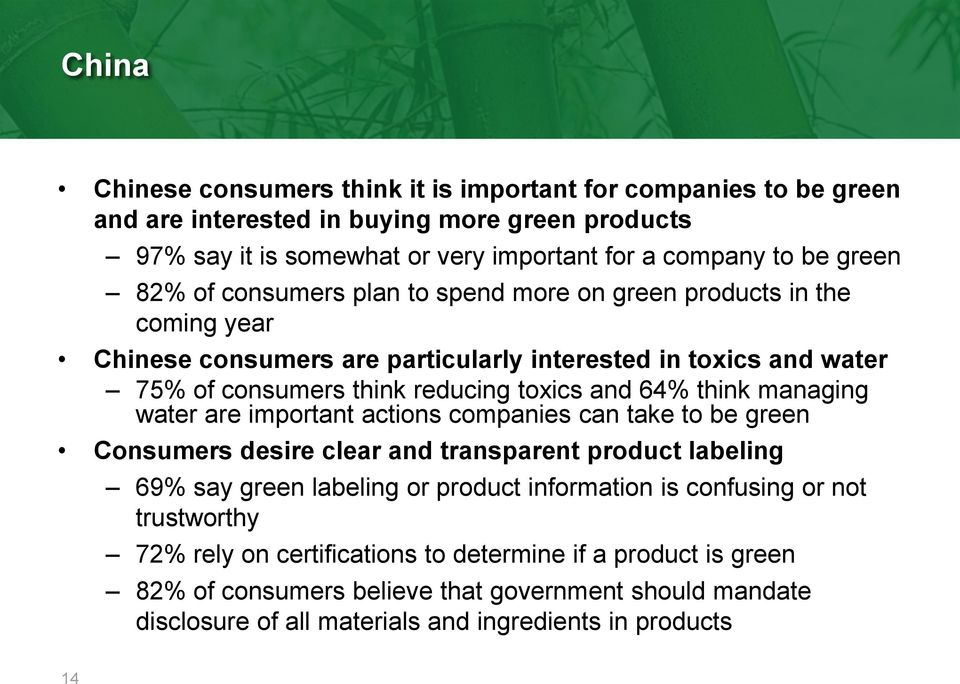 think managing water are important actions companies can take to be green Consumers desire clear and transparent product labeling 69% say green labeling or product information is confusing