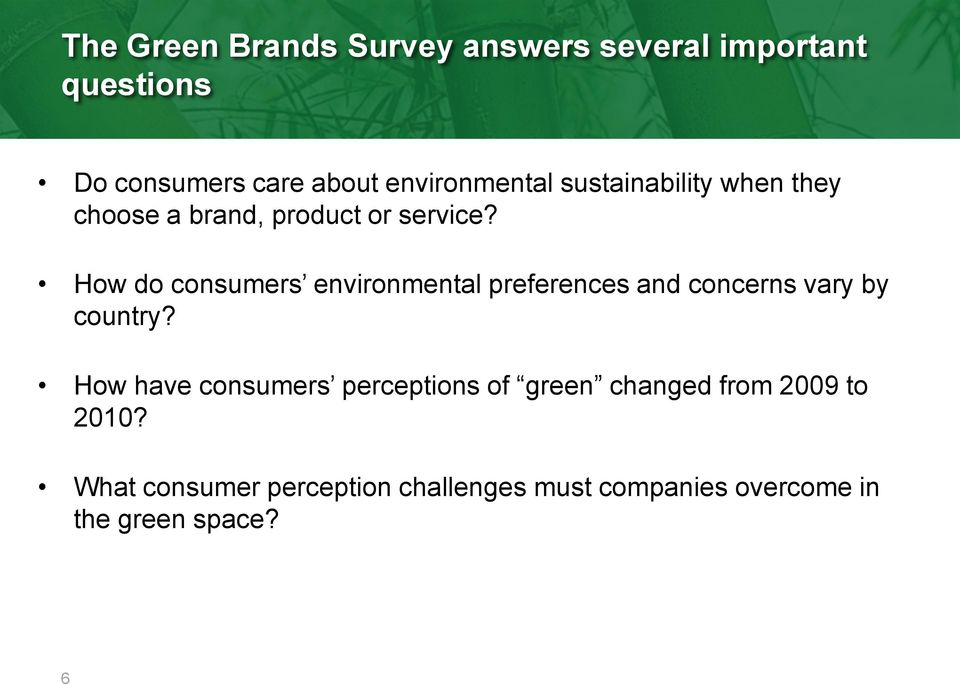 How do consumers environmental preferences and concerns vary by country?