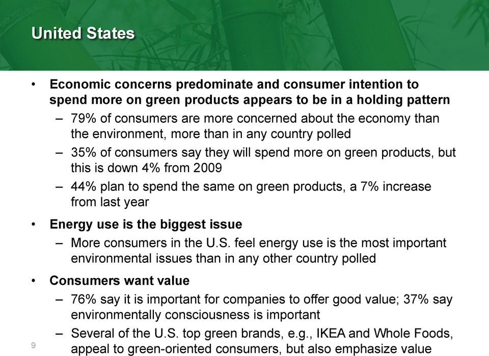 from last year Energy use is the biggest issue More consumers in the U.S.