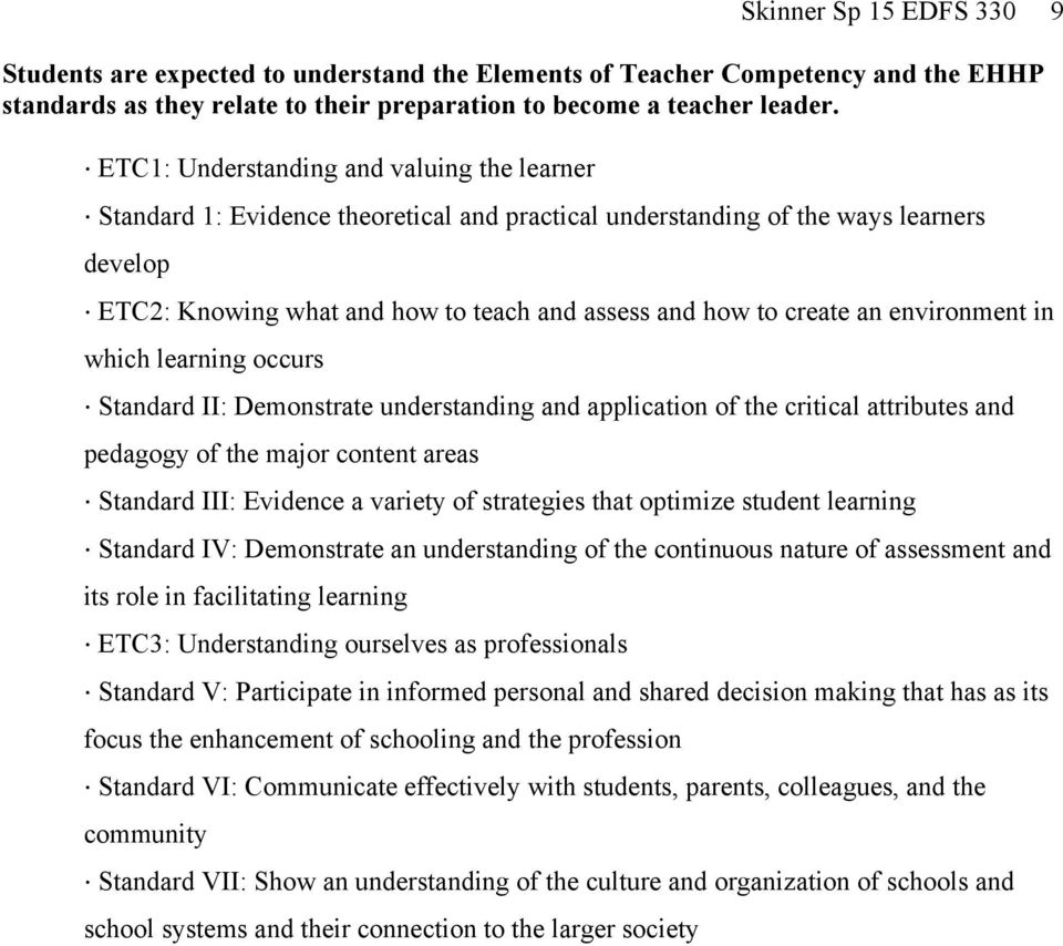 an environment in which learning occurs Standard II: Demonstrate understanding and application of the critical attributes and pedagogy of the major content areas Standard III: Evidence a variety of