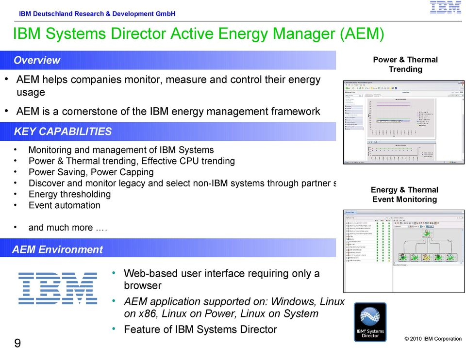 Discover and monitor legacy and select non-ibm systems through partner solutions Energy & Thermal Energy thresholding Event Monitoring Event automation and much more.