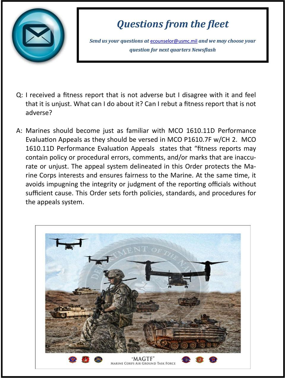 Can I rebut a fitness report that is not adverse? A: Marines should become just as familiar with MCO 1610.