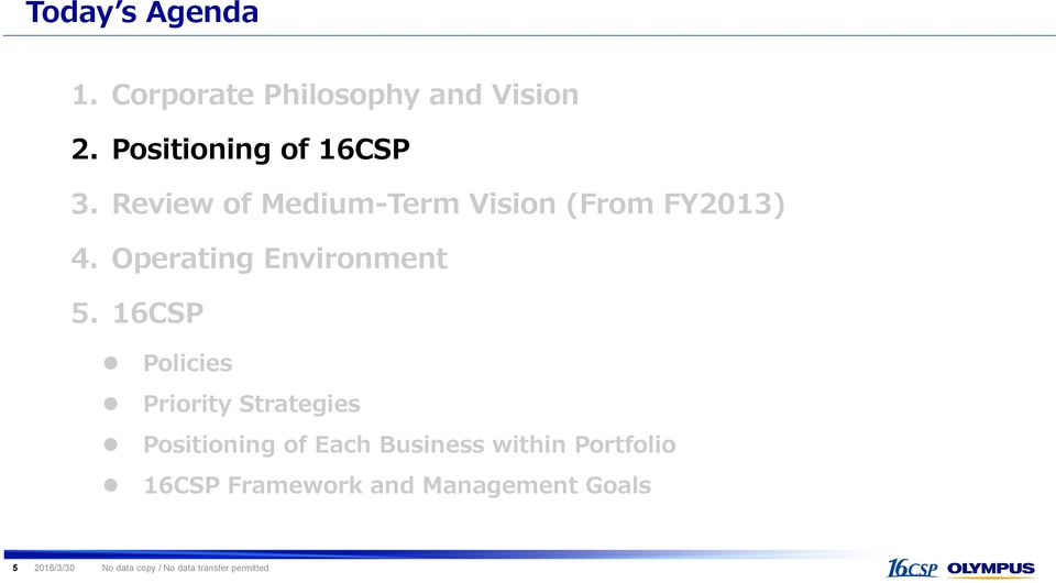 16CSP Policies Priority Strategies Positioning of Each Business within