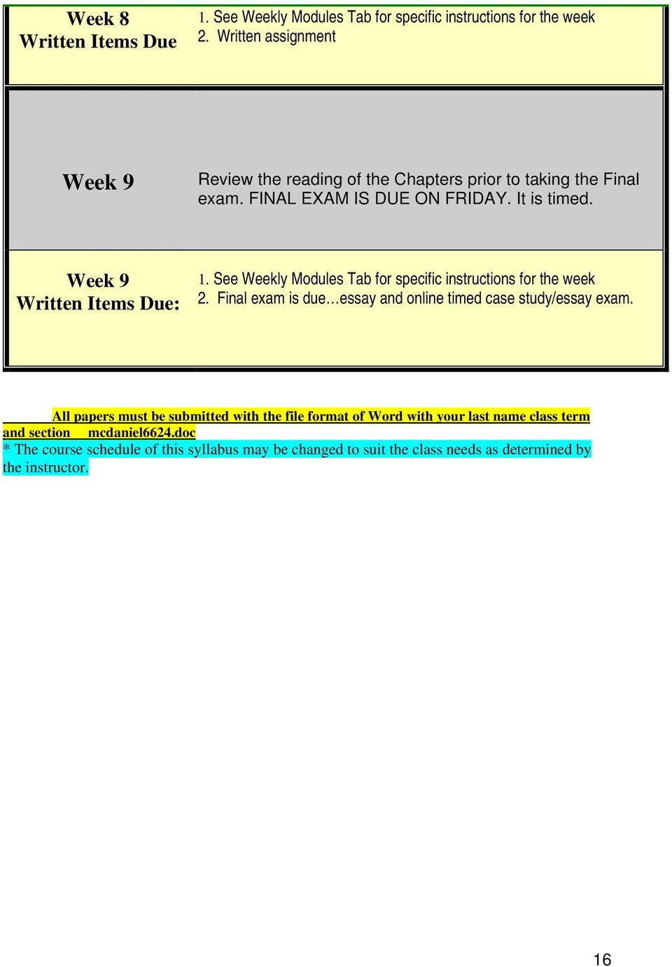 Week 9 Written Items Due: 1. See Weekly Modules Tab for specific instructions for the week 2.