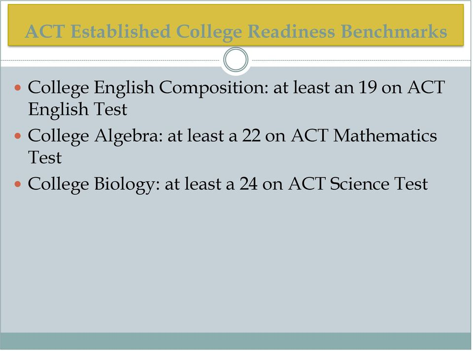 Test College Algebra: at least a 22 on ACT