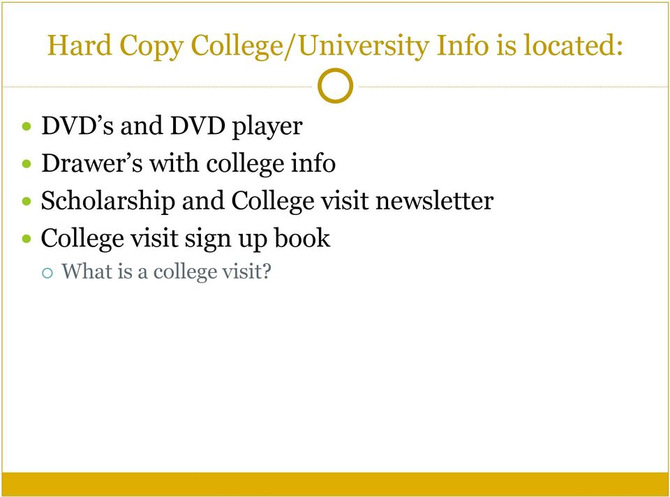 info Scholarship and College visit newsletter