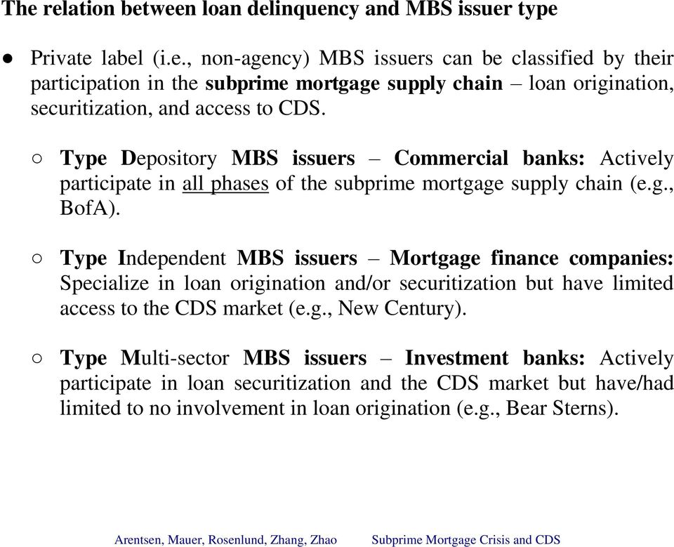 Type Independent MBS issuers Mortgage finance companies: Specialize in loan origination and/or securitization but have limited access to the CDS market (e.g., New Century).