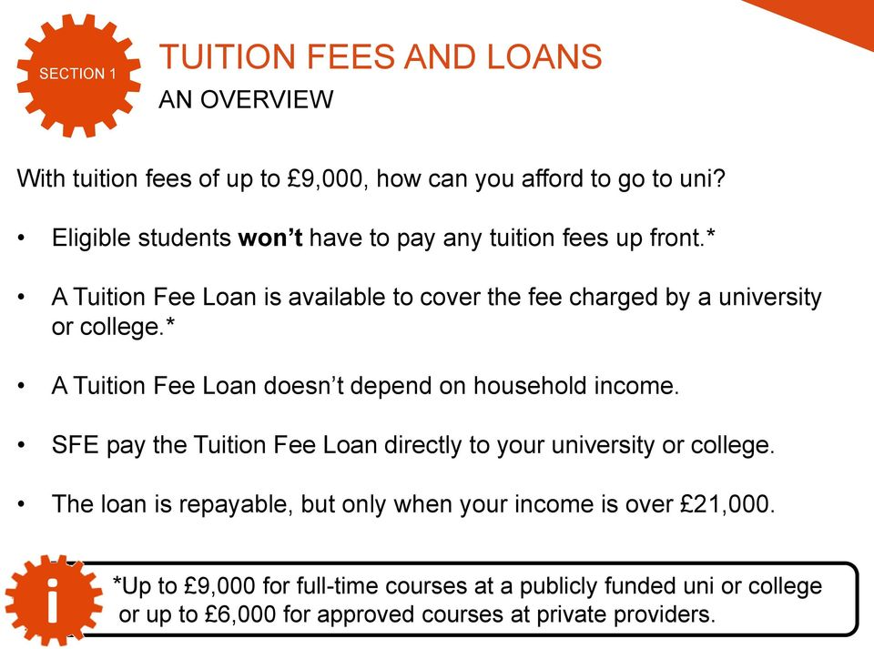 * A Tuton Fee Loan doesn t depend on household ncome. SFE pay the Tuton Fee Loan drectly to your unversty or college.