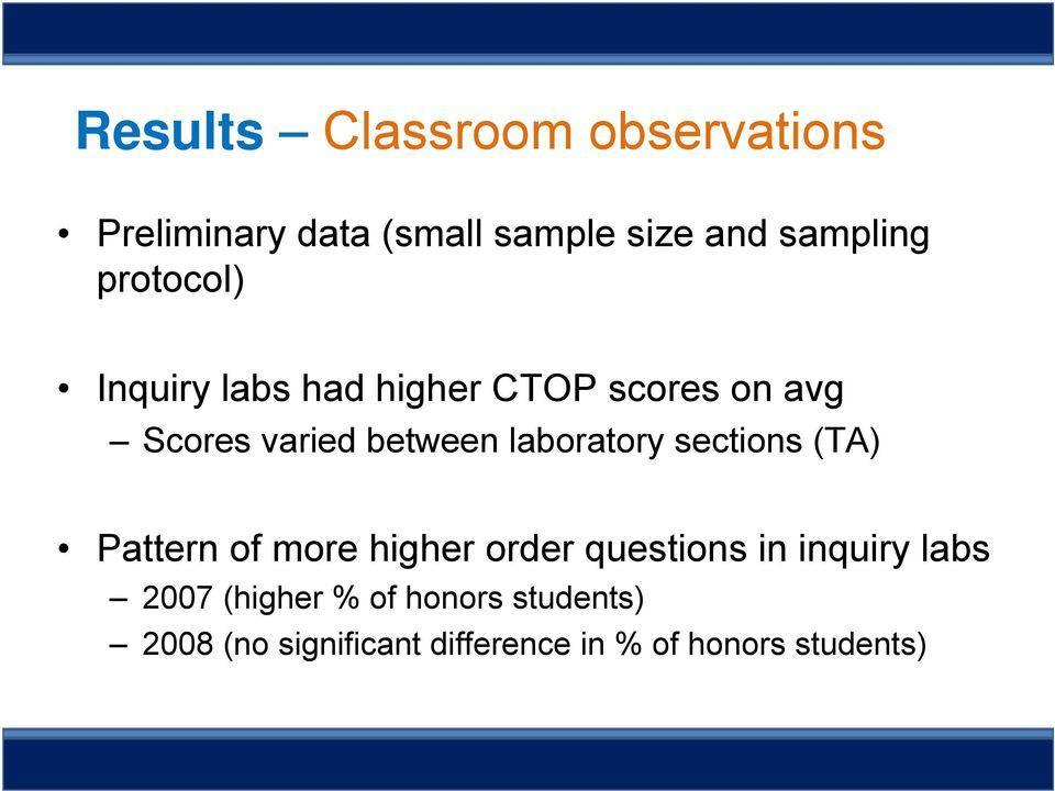 laboratory sections (TA) Pattern of more higher order questions in inquiry labs