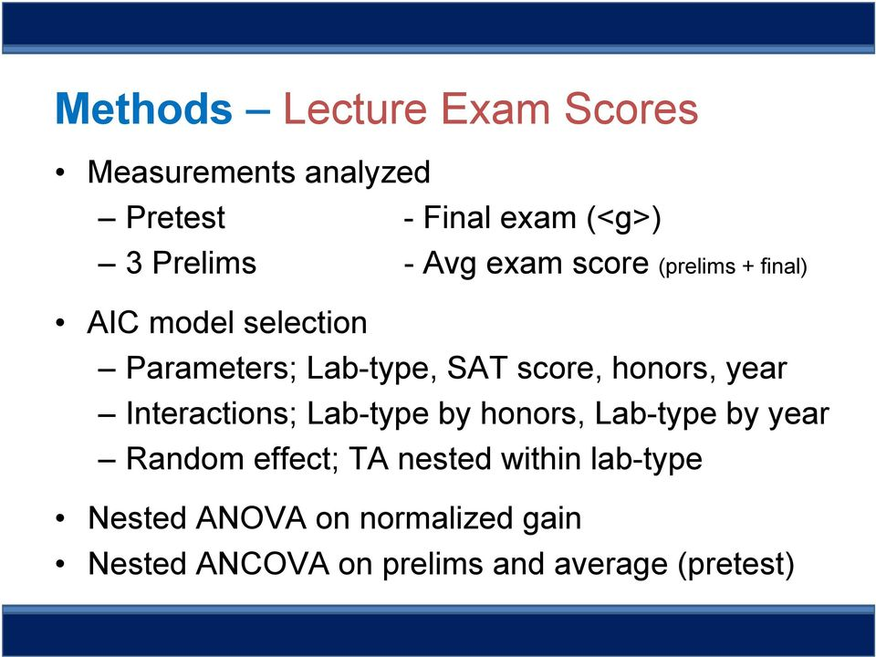 honors, year Interactions; Lab-type by honors, Lab-type by year Random effect; TA nested
