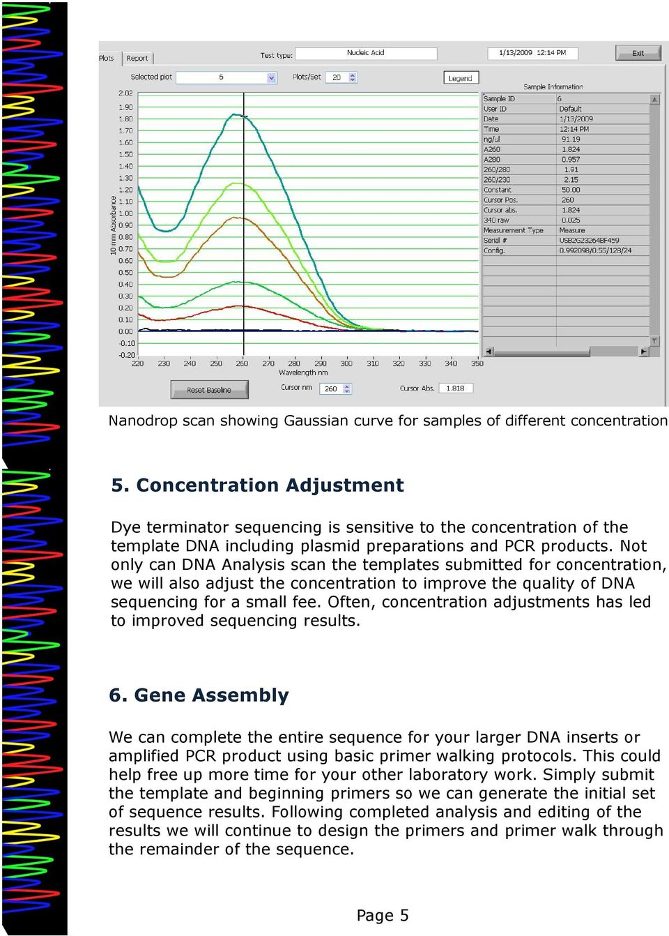 Not only can DNA Analysis scan the templates submitted for concentration, we will also adjust the concentration to improve the quality of DNA sequencing for a small fee.