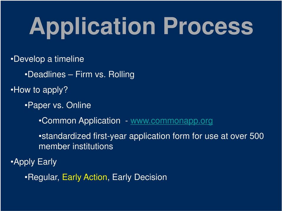 Online Apply Early Common Application - www.commonapp.