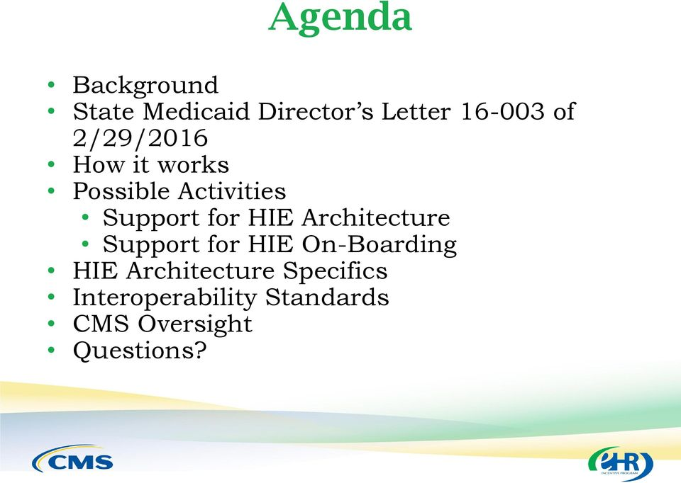 HIE Architecture Support for HIE On-Boarding HIE