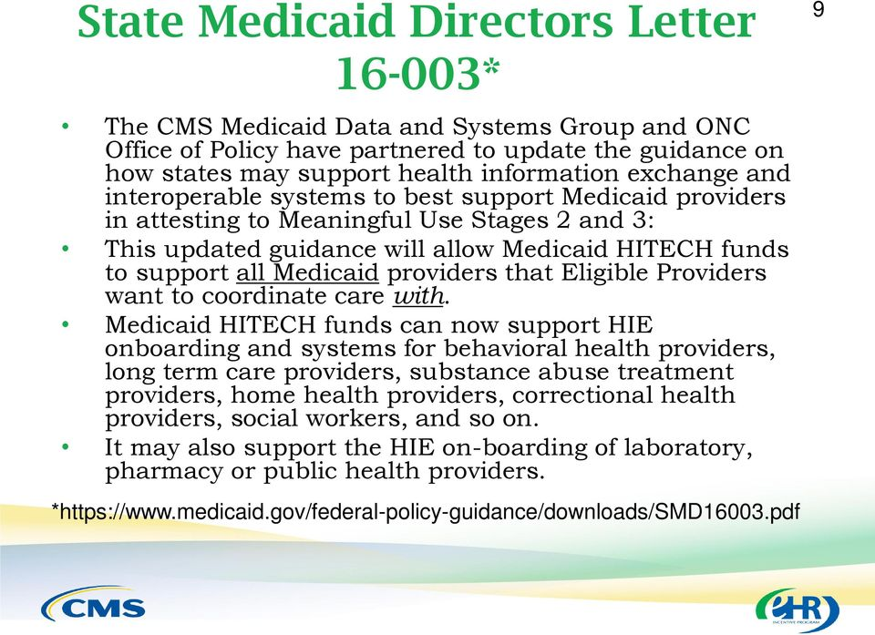 that Eligible Providers want to coordinate care with.