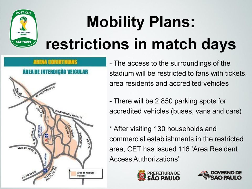 parking spots for accredited vehicles (buses, vans and cars) * After visiting 130 households and