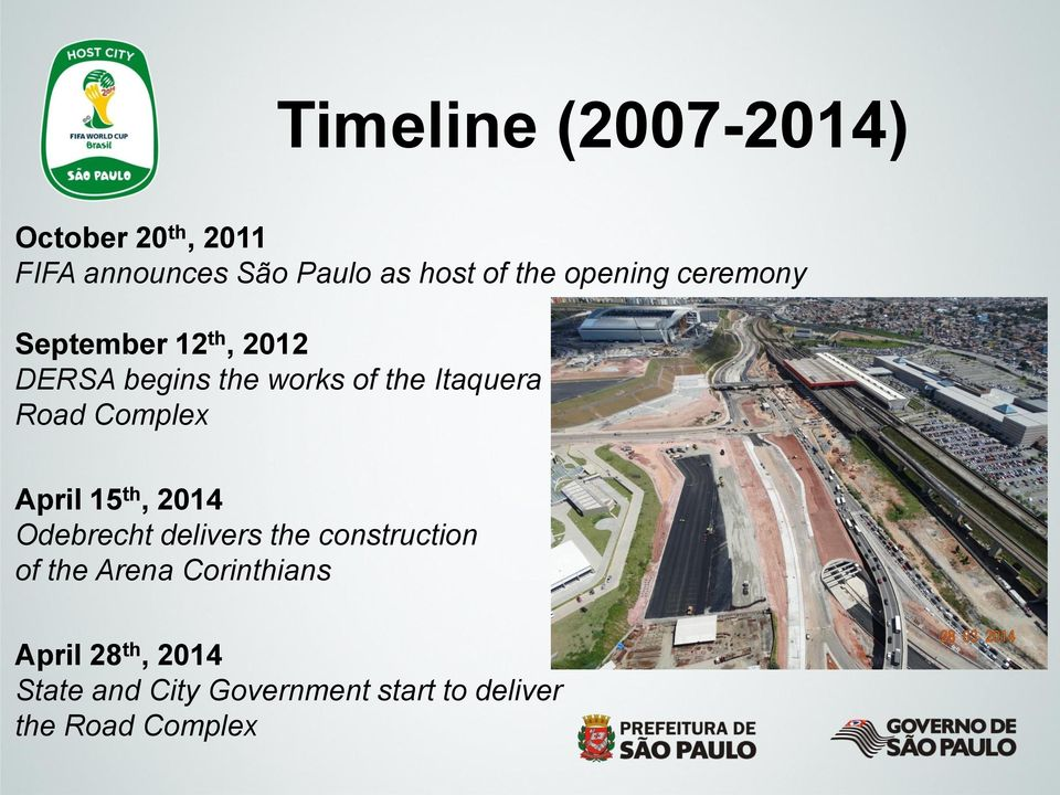 Road Complex April 15 th, 2014 Odebrecht delivers the construction of the Arena