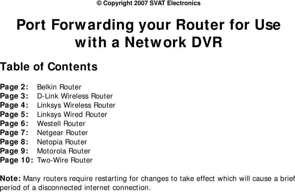 Port Forwarding your Router for Use with a Network DVR - PDF