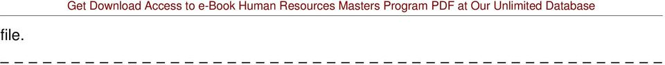 Resources Masters