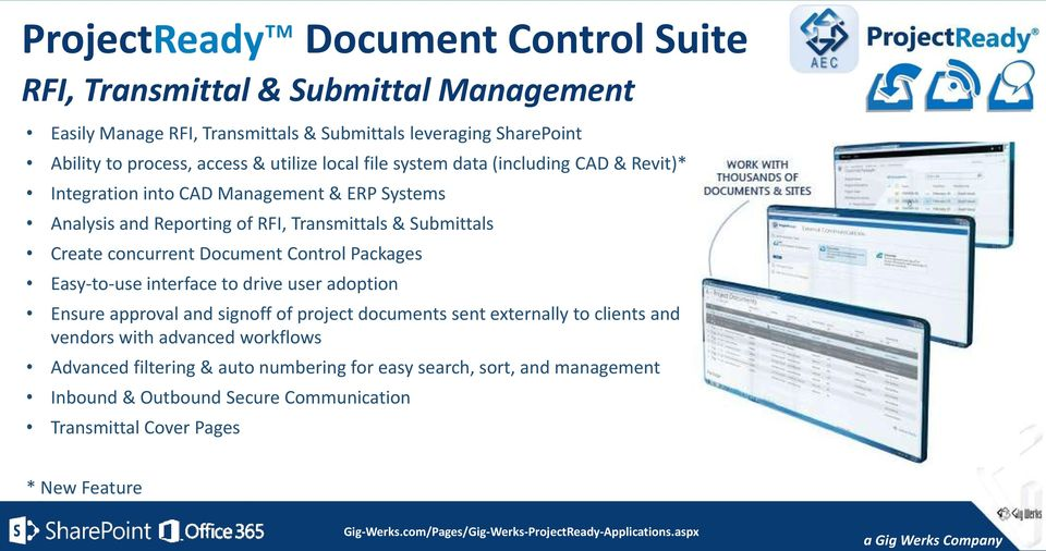 concurrent Document Control Packages Easy-to-use interface to drive user adoption Ensure approval and signoff of project documents sent externally to clients and vendors