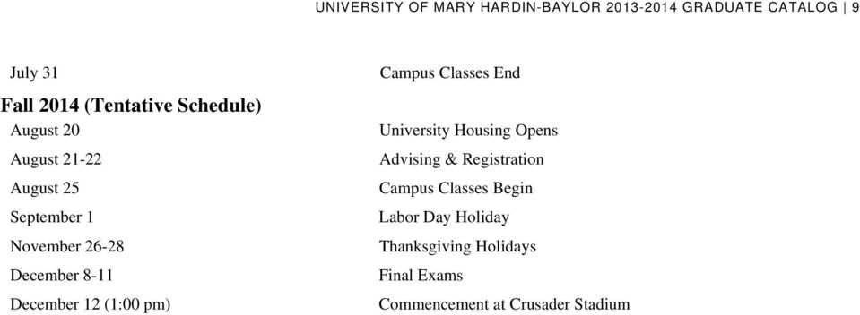 12 (1:00 pm) Campus Classes End University Housing Opens Advising & Registration Campus
