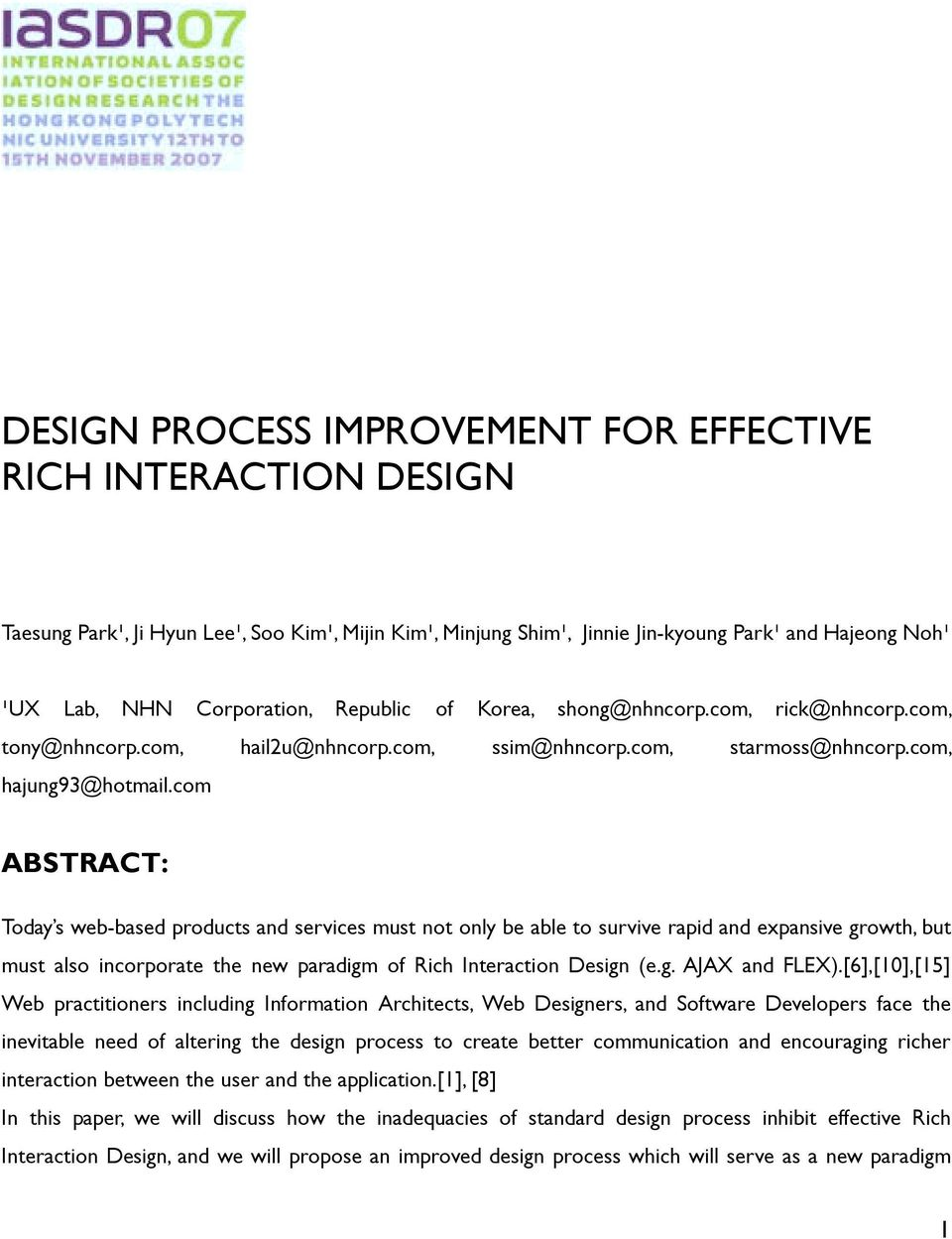 DESIGN PROCESS IMPROVEMENT FOR EFFECTIVE RICH INTERACTION DESIGN - PDF