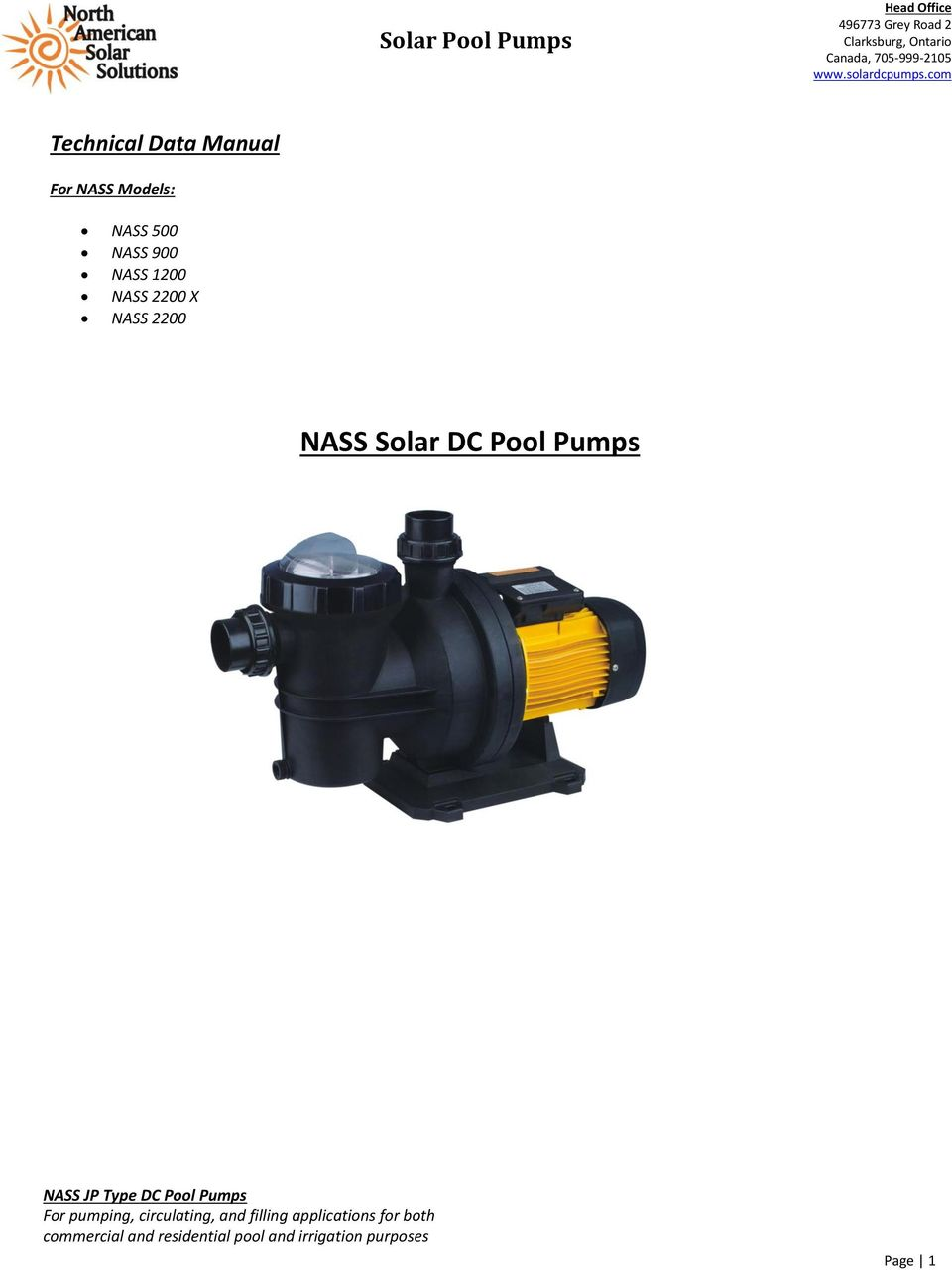 Pool Pumps NASS JP Type DC Pool Pumps For pumping, circulating, and filling