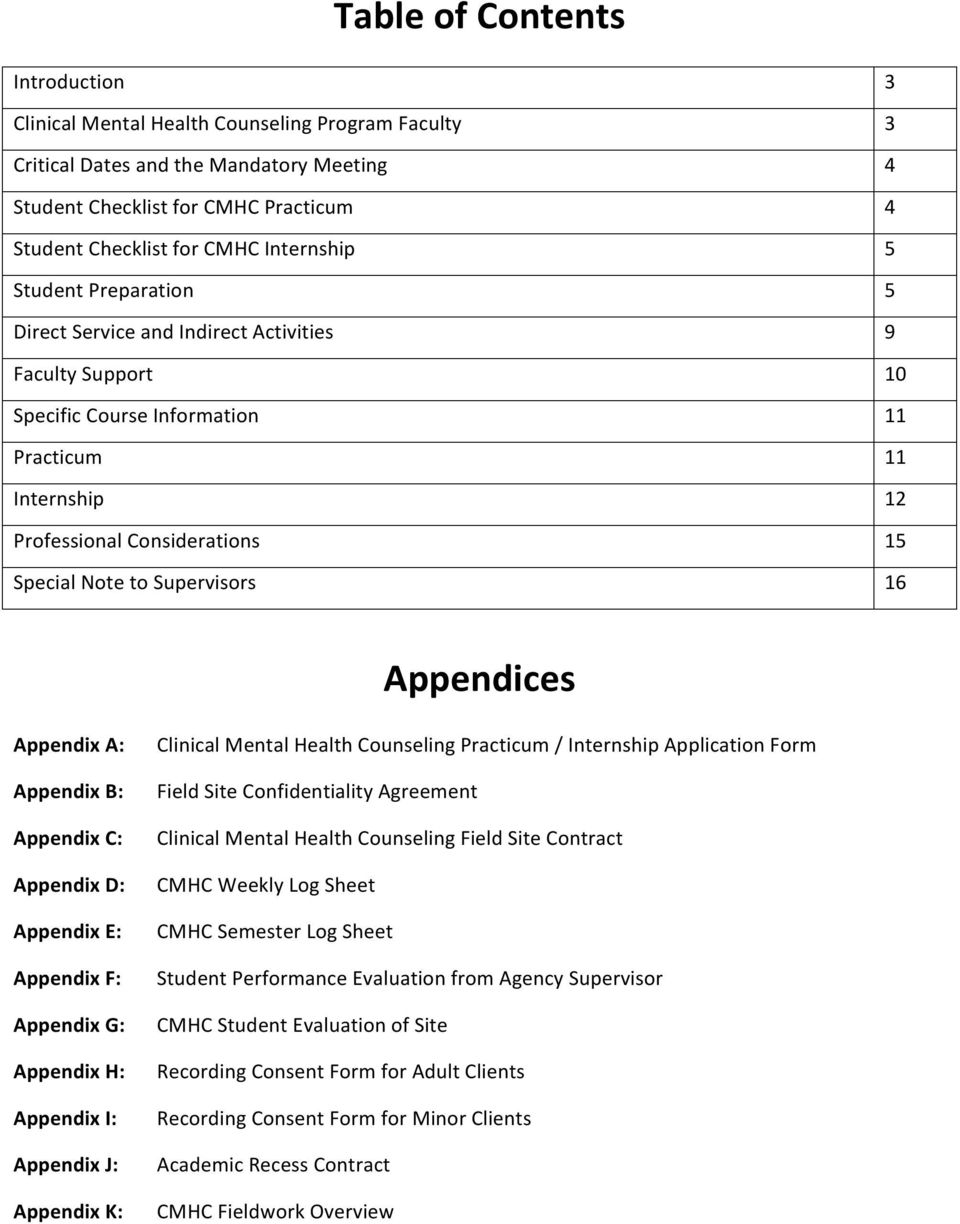 11 12 15 16 Appendices Appendix A: Appendix B: Appendix C: Appendix D: Appendix E: Appendix F: Appendix G: Appendix H: Appendix I: Appendix J: Appendix K: Clinical Mental Health Counseling Practicum