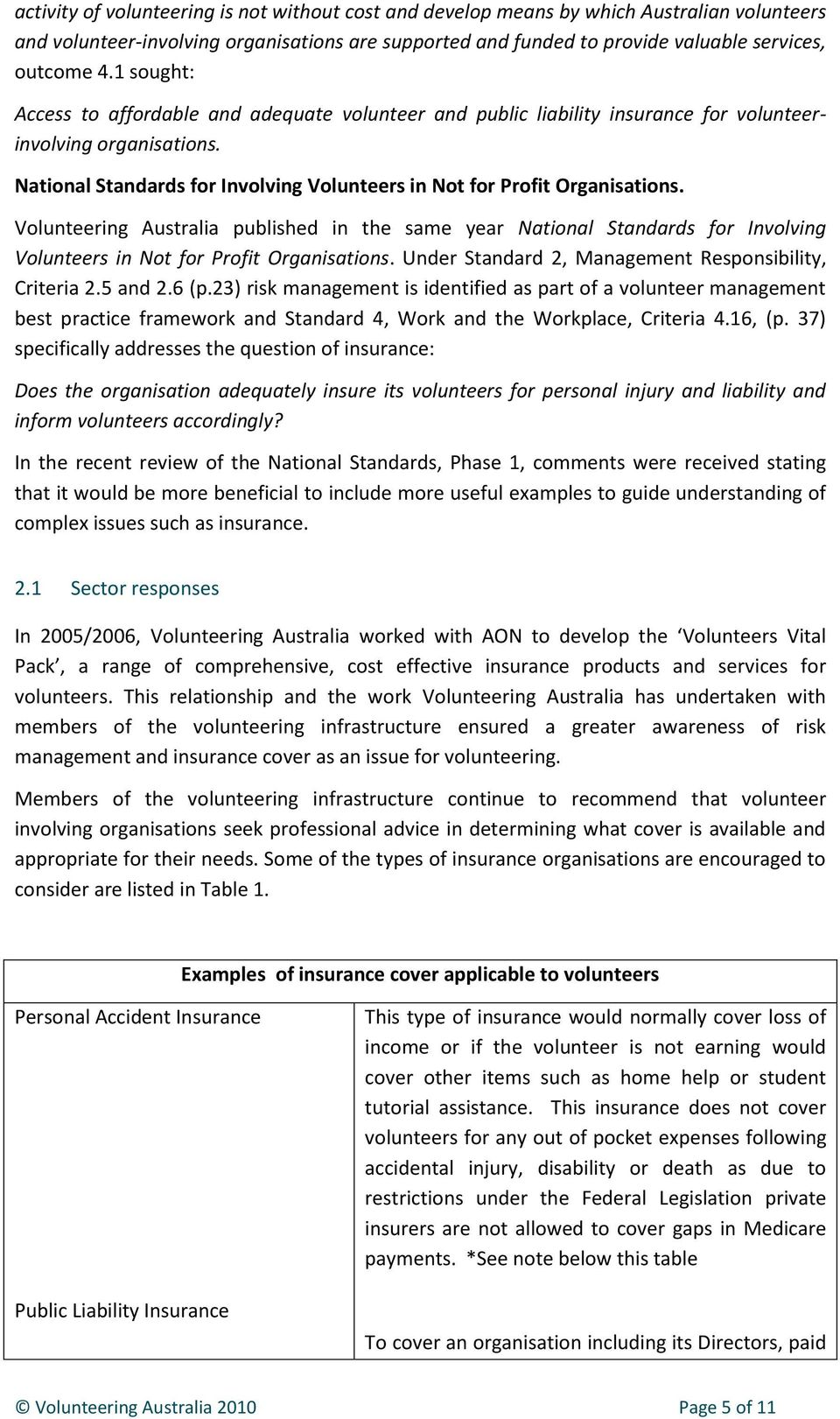 Volunteering Australia published in the same year National Standards for Involving Volunteers in Not for Profit Organisations. Under Standard 2, Management Responsibility, Criteria 2.5 and 2.6 (p.