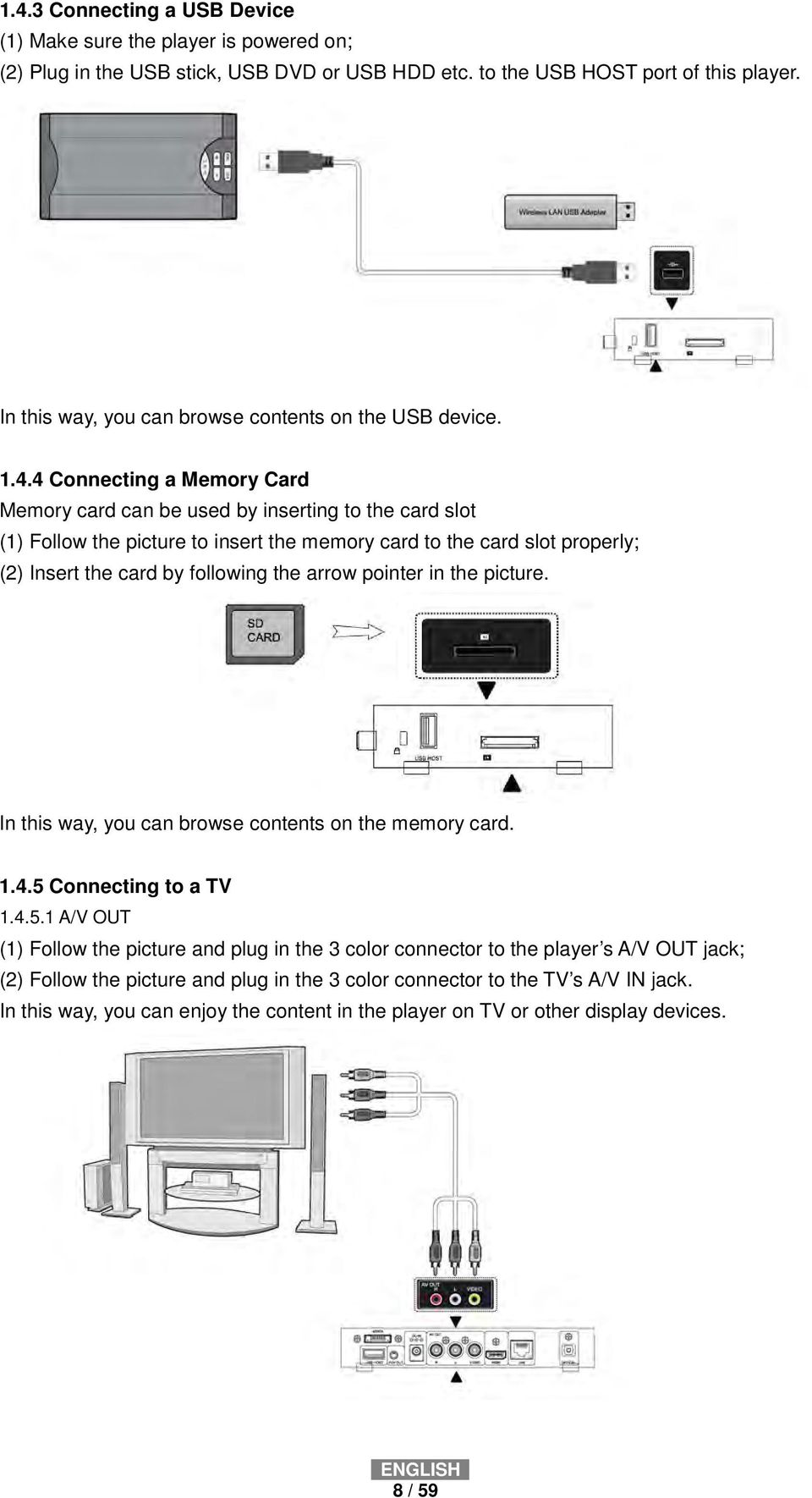 4 Connecting a Memory Card Memory card can be used by inserting to the card slot (1) Follow the picture to insert the memory card to the card slot properly; (2) Insert the card by following the arrow