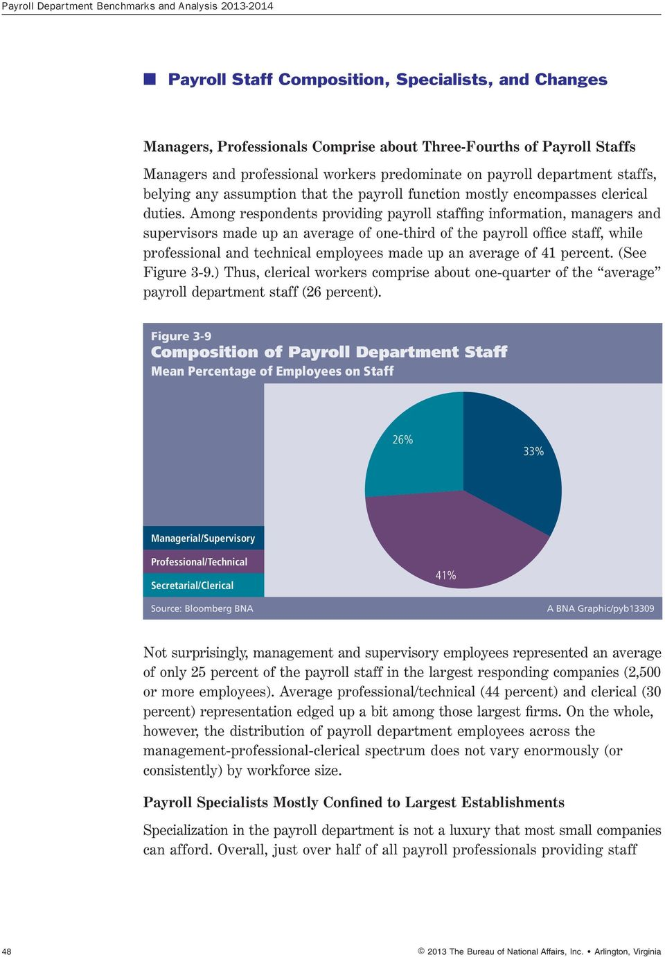 Among respondents providing payroll staffing information, managers and supervisors made up an average of one-third of the payroll office staff, while professional and technical employees made up an