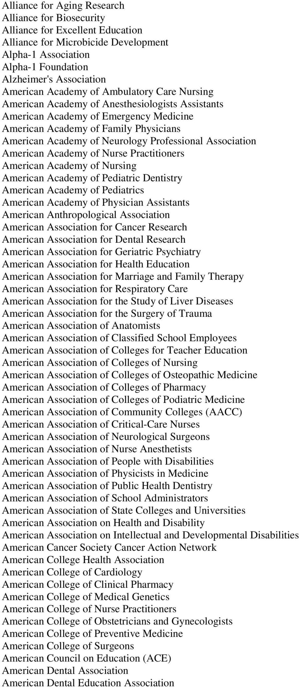 Professional Association American Academy of Nurse Practitioners American Academy of Nursing American Academy of Pediatric Dentistry American Academy of Pediatrics American Academy of Physician
