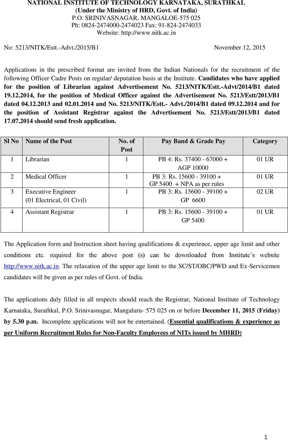 /2015/B1 November 12, 2015 Applications in the prescribed format are invited from the Indian Nationals for the recruitment of the following Officer Cadre Posts on regular/ deputation basis at the