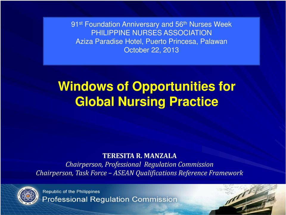 Opportunities for Global Nursing Practice TERESITA R.