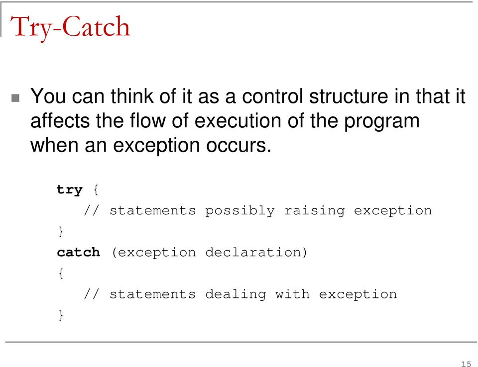 exception occurs.