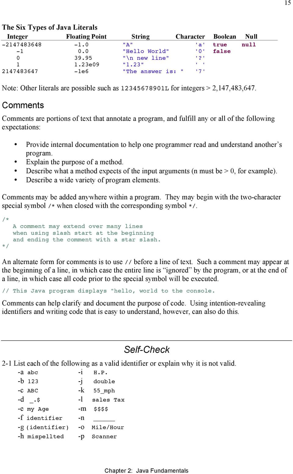 Comments Comments are portions of text that annotate a program, and fulfill any or all of the following expectations: Provide internal documentation to help one programmer read and understand another