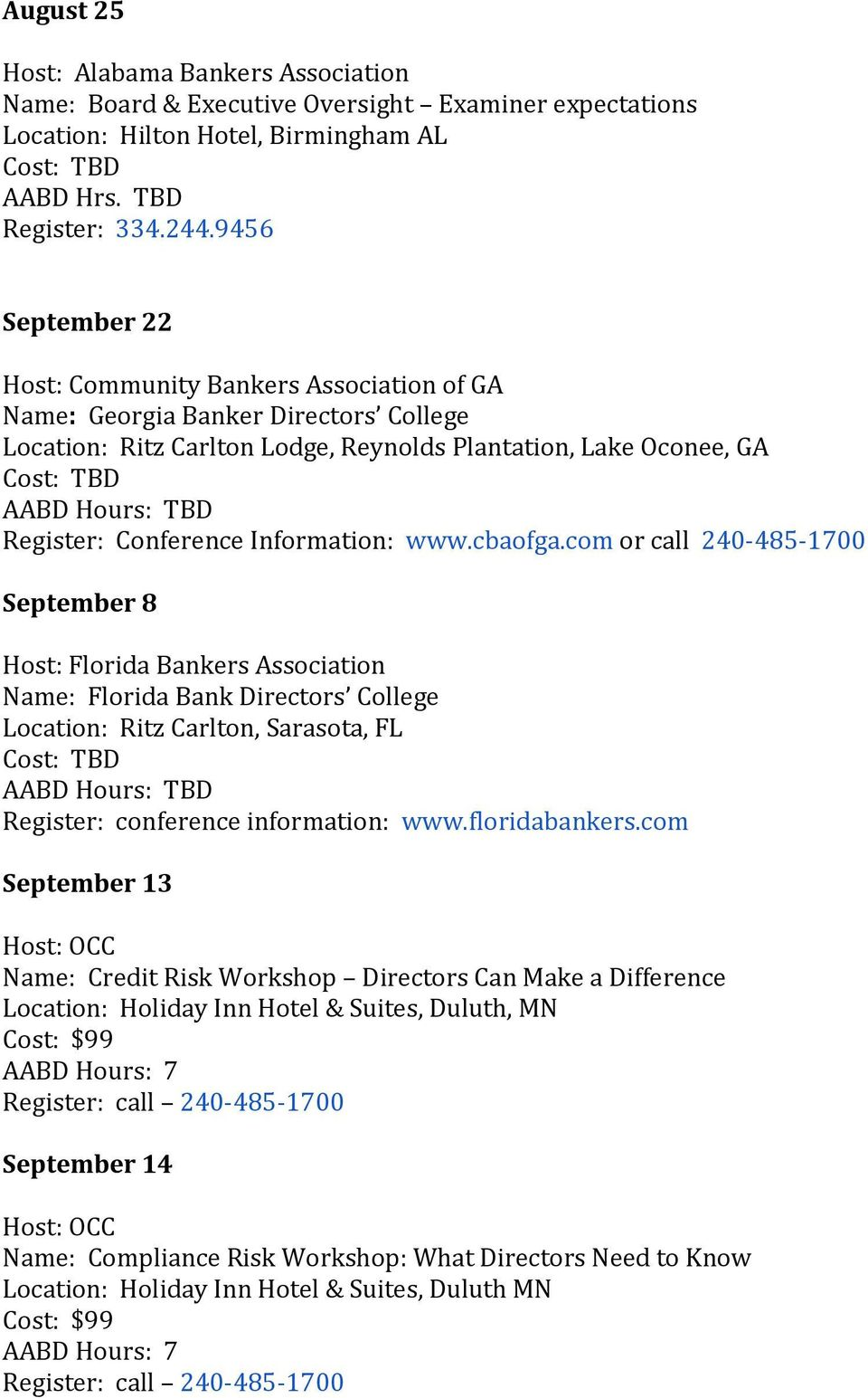 Conference Information: www.cbaofga.