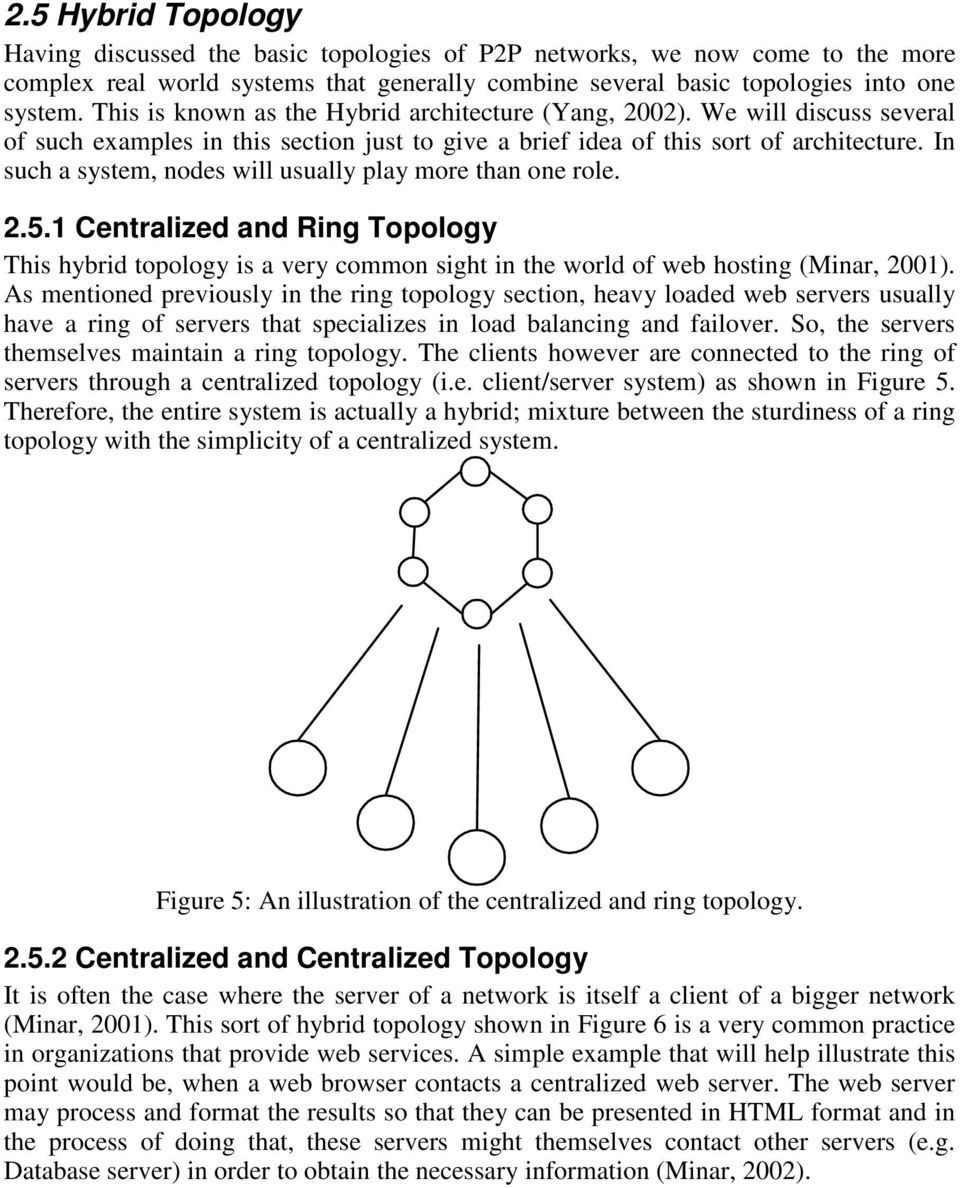 In such a system, nodes will usually play more than one role. 2.5.1 Centralized and Ring Topology This hybrid topology is a very common sight in the world of web hosting (Minar, 2001).