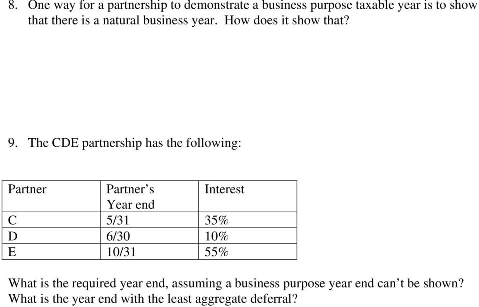 The CDE partnership has the following: Partner Partner s Interest Year end C 5/31 35% D 6/30 10% E
