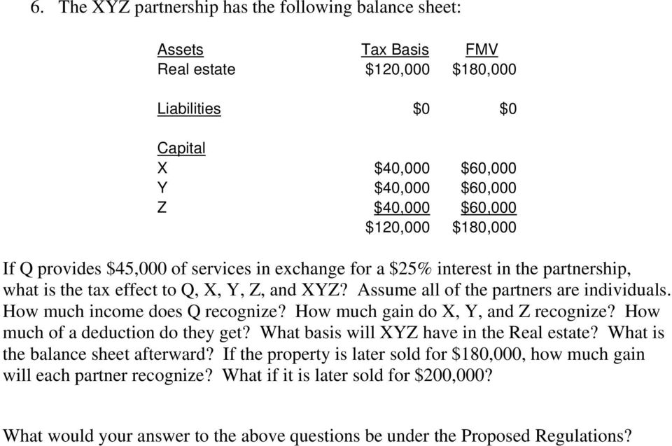 How much income does Q recognize? How much gain do X, Y, and Z recognize? How much of a deduction do they get? What basis will XYZ have in the Real estate? What is the balance sheet afterward?