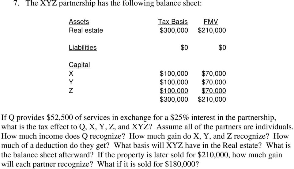 Assume all of the partners are individuals. How much income does Q recognize? How much gain do X, Y, and Z recognize? How much of a deduction do they get?