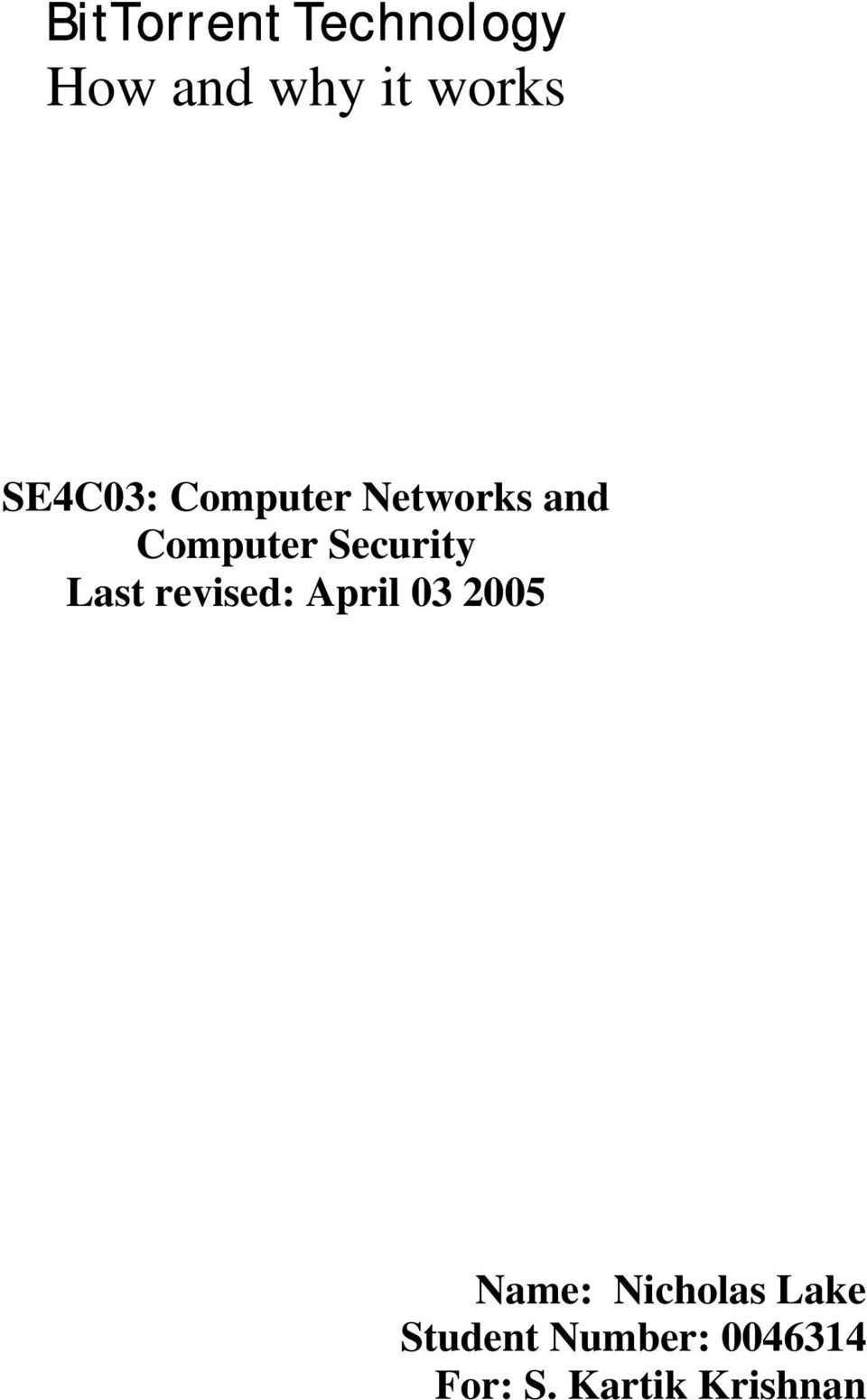 Security Last revised: April 03 2005 Name: