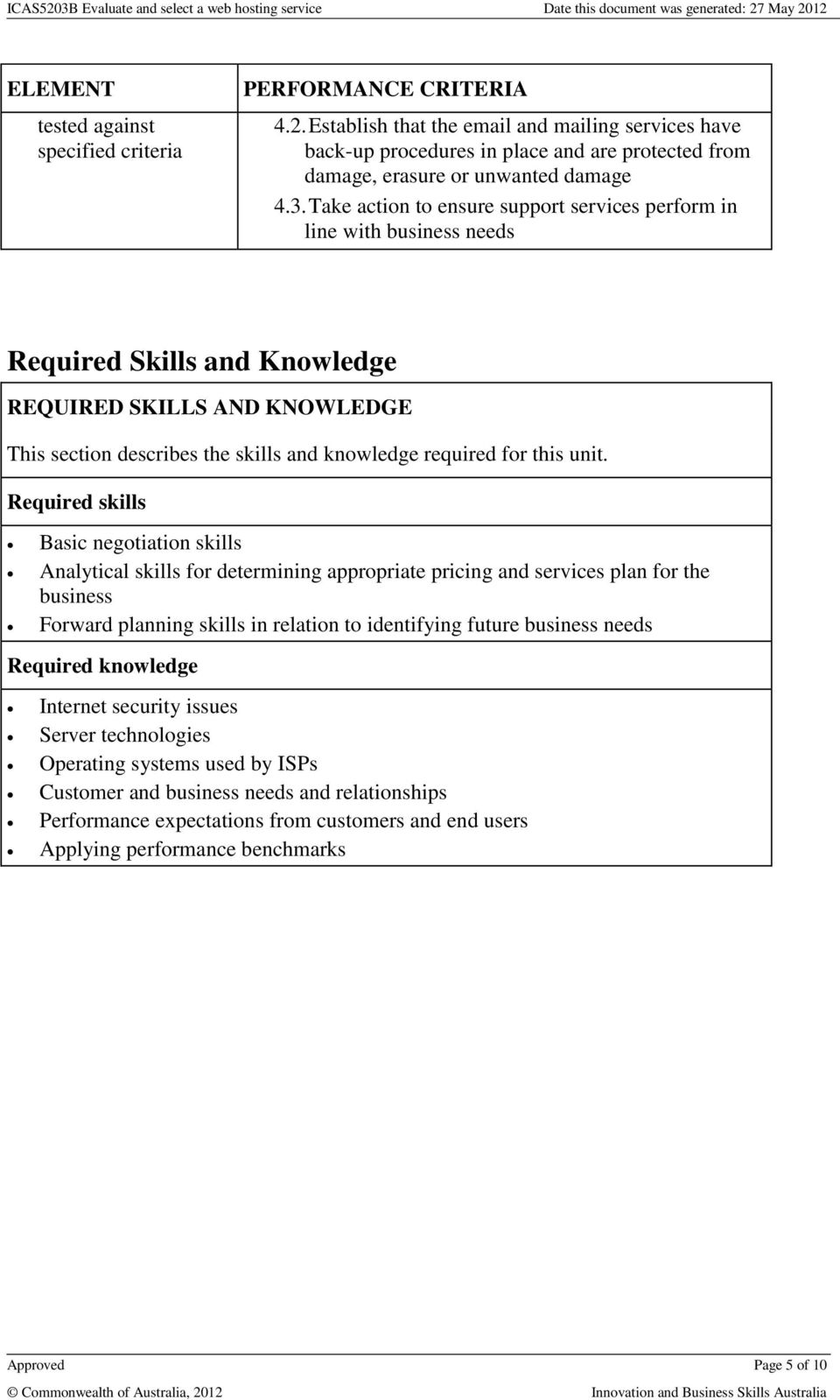 Take action to ensure support services perform in line with business needs Required Skills and Knowledge REQUIRED SKILLS AND KNOWLEDGE This section describes the skills and knowledge required for