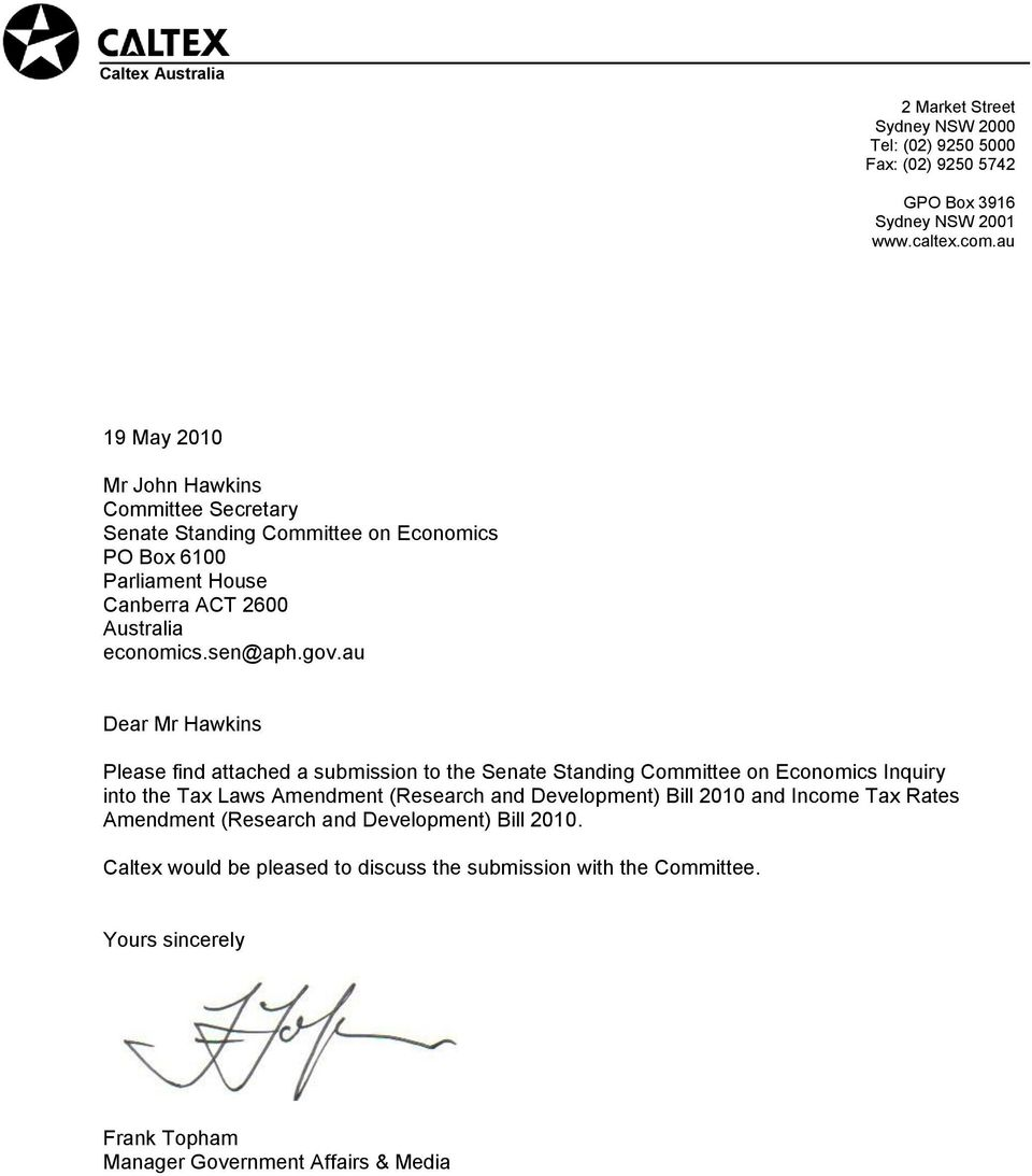 au Dear Mr Hawkins Please find attached a submission to the Senate Standing Committee on Economics Inquiry into the Tax Laws Amendment (Research and Development) Bill