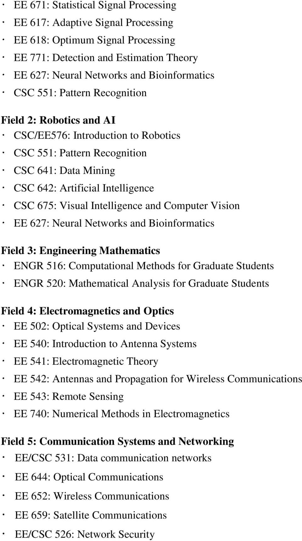 Computational Methods for Graduate Students ENGR 520: Mathematical Analysis for Graduate Students Field 4: Electromagnetics and Optics EE 502: Optical Systems and Devices EE 540: Introduction to