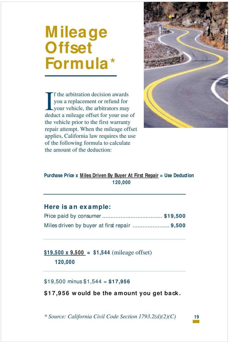 When the mileage offset applies, California law requires the use of the following formula to calculate the amount of the deduction: Purchase Price x Miles Driven By Buyer At